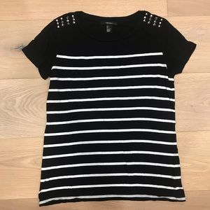 Forever 21 Black and White Striped Tee w/ Studs